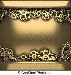 metal background with cogwheel gears