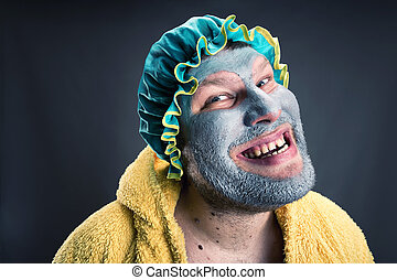 Strange man with face pack - Crazy man with face pack....