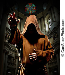 Preaching monk in church - Portrait of preaching medieval...