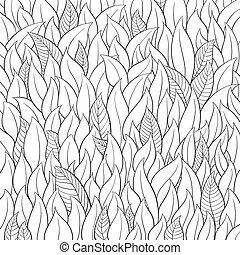 Outline leaf background on white