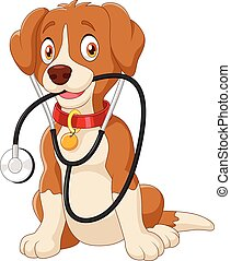 Cute dog sitting with stethoscope - Vector illustration of...