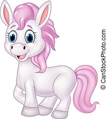 Cartoon baby pony horse posing - Vector illustration of...