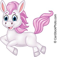 Cute pony horse running isolated - Vector illustration of...