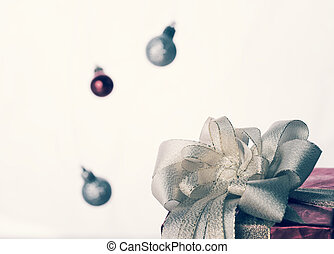 Christmas gift box with retro filter