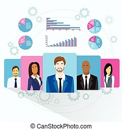 Business People Team Profile Icon Finance Chart Diagram Social Media Marketing Target Group Audience