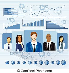 Business People Profile Icon Over Graph Set Finance Diagram Infographic Hand Draw Icon Sketch Financial