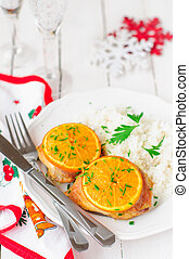 Spiced Orange Roast Chicken with Rice, Christmas Atmosphere,...