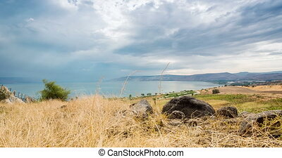 Galilee panorama taken from Mount of Beatitudes, Israel -...