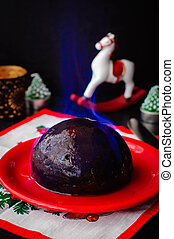 Flambeed Christmas Pudding