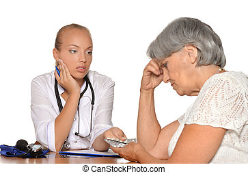 Elderly woman came to young doctor