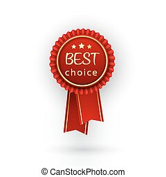 Vector best choice red label with ribbons.
