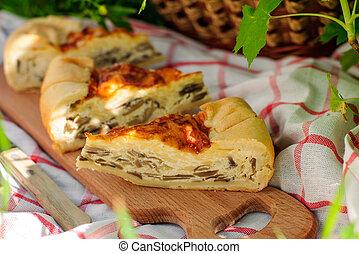 Quiche Lorraine with assorted mushrooms - Quiche Lorraine...