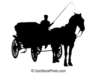 Horse and buggy silhouette - Horse and carriage silhouette...