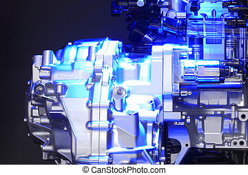 Blue light irradiation car engine of close-up - Blue light...