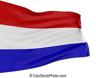 3D Netherlands flag with fabric surface texture. White...