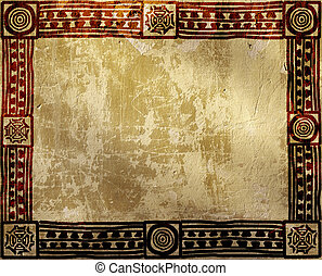 Grunge background with American Indian ethnic patterns and...