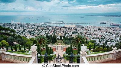 Panorama of Haifa - port and Bahai garden, Israel - Panorama...