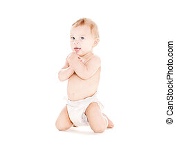 sitting baby boy in diaper - picture of sitting baby boy in...