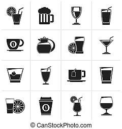 drinks and beverages icons - Black drinks and beverages...