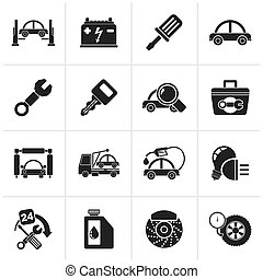 Car service maintenance icons - Black Car service...