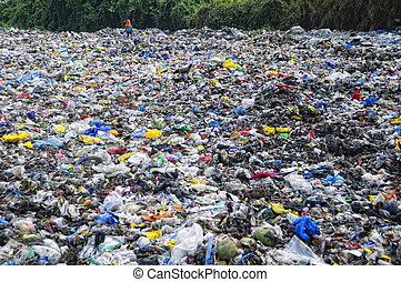 Garbage Dump - Woman scavenges in a sea of trash for...