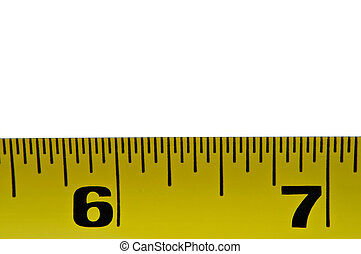 Tape measure - Close up on a section of yellow tape measure...