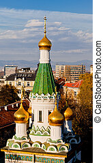 Russian Church St Nicholas, Sofia, Bulgaria - Golden domes...