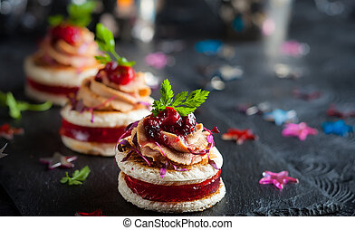 Foie gras and cranberry chutney - Festive appetizer with...