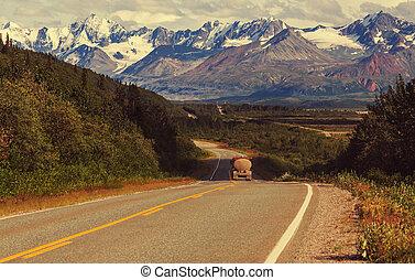 Road on Alaska - Highway in Alaska