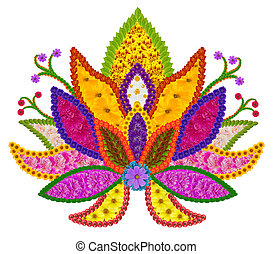 Persian rug element - Golden Sacred Lotus - Basic element of...