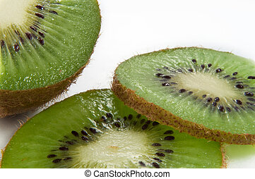 Sliced kiwifruit - Close up and low level angle of a...