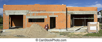 Began construction of the red brick rural house - Began...