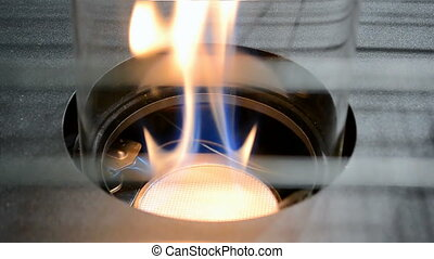 gas-stove with fire flame closeup,