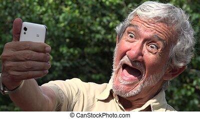 Old Man Taking Selfie