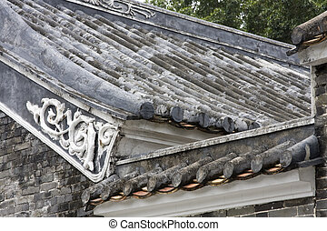 An aerial view over Chinese tiles roofs in an ancient...