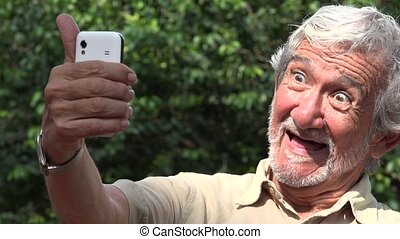 Old Man Taking Selfie