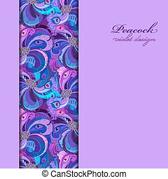 Violet, lilac and blue peacock feathers. Vertical border...