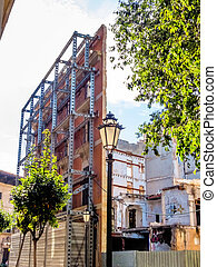 house conservation - the facade of a house that is being...