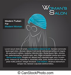 Woman in blue turban on black