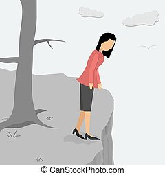 Depressed woman on a cliff looking down - Vector...