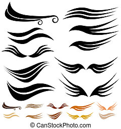 Abstract Wave Wing Set - Abstract wave wing set isolated on...