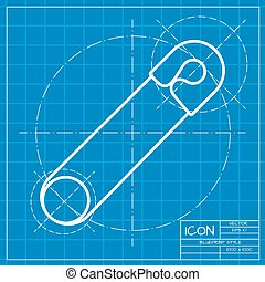 Vector outline icon - Vector classic blueprint of tailor pin...