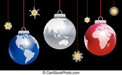 Christmas Balls Globe World - Christmas balls planet earth -...