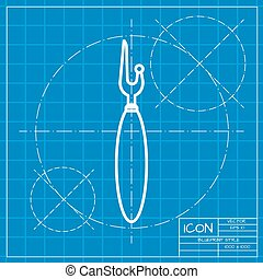 Vector outline icon - Vector classic blueprint of tailor...