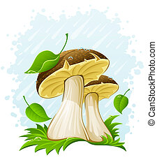 mushrooms with green leaf in grass under the rain -...