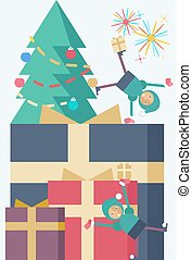 Christmas presents - A Christmas tree with different-sized...