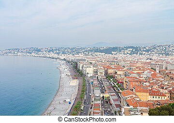cityscape of Nice, France - cityscape of Nice with beach and...