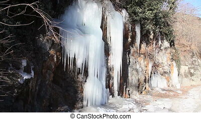 ice waterfall on mountain, sequence