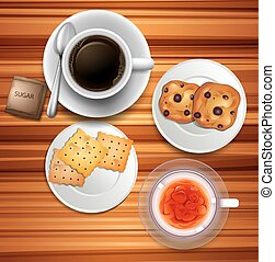 Teatime with coffee and biscuits illustration