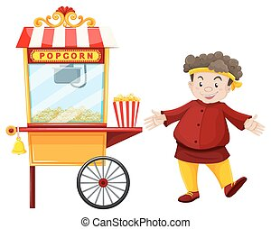 Man and popcorn vendor illustration
